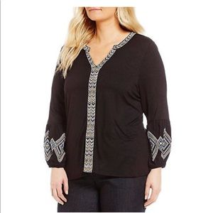 Democracy Boho Black Embroidered Detail Tunic